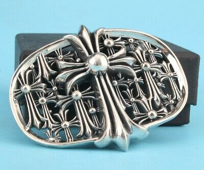 Hand-Carved Chinese Solid Silver Christian Cross Belt Buckle Gift Men High-End