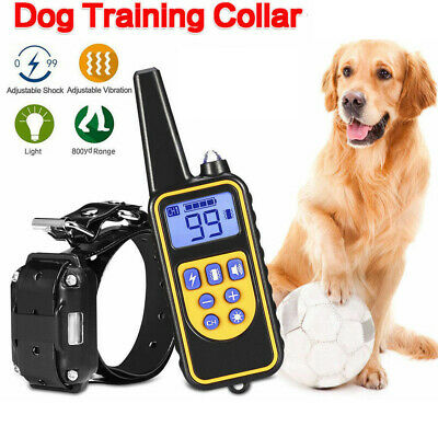 Waterproof Pet Dog Training Collar Electric Shock Rechargeable Remote 875 Yard