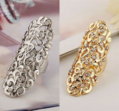 Fashion Glitter Rhinestone Full Finger Armor Joint Knuckle Hollow Out Ring Gift