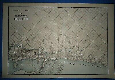 Vintage Circa 1893 DULUTH MAP Old Antique Original Atlas Map