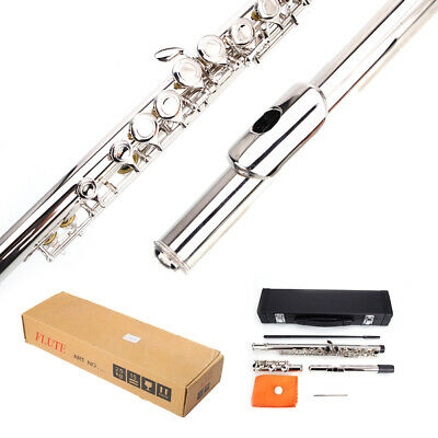New Nickel-plated Body & Keys School Student Band 16 Hole C Flute Silver w/ Case
