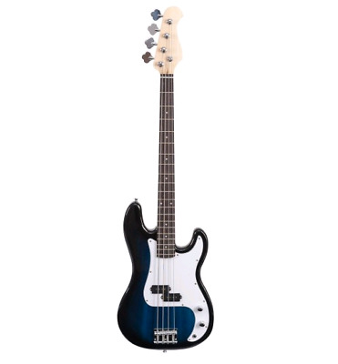 Brand New Blue&White Full Size 4 String Electric Bass Guitar w/ Strap Bag