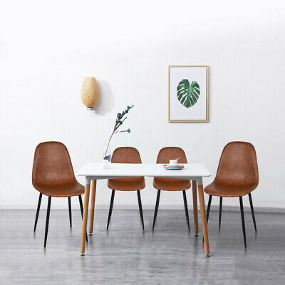 Medieval Modern Style 4PCS CHAIR Metal Leg Leather Seat Dining Room Chair Brown