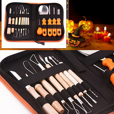 12 Pcs Pro Pumpkin Carving Tools Double Sided Halloween Sculpting Carve DIY Kit