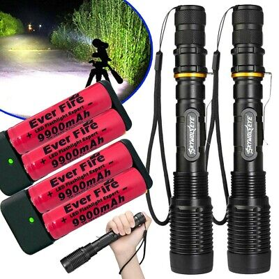300000Lumens Tactical Police T6 LED 5Modes 18650 Flashlight Aluminum Focus Torch