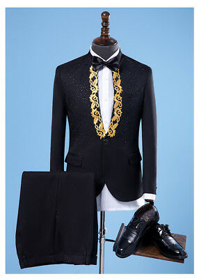Mens Formal One Button Blazers Suits Sequins Wedding Bridegroom Party Coat Pants