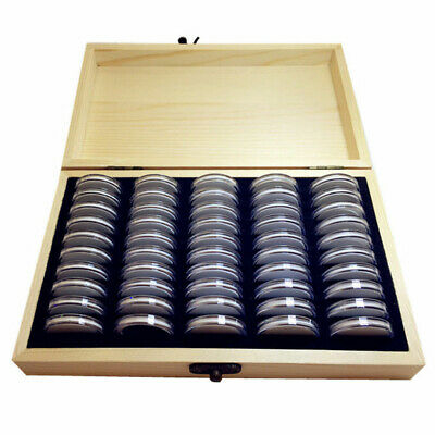 50/100PCS Wooden Capsules Coins Display Storage Box Case Collectible Coin w/Bag