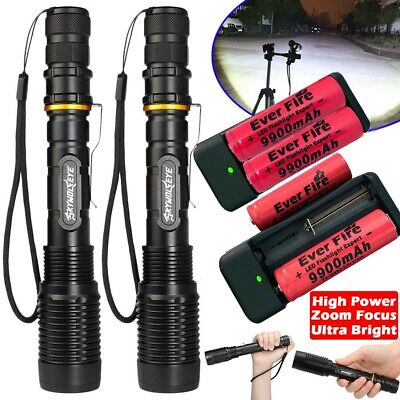 Aluminum 300000Lumens Tactical Police T6 LED 5Modes 18650 Flashlight Zoom Torch