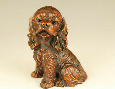 lovely unique old boxwood hand carved seat dog statue figure netsuke collectable
