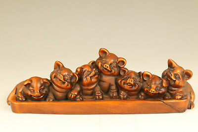 Lovely chinese old boxwood hand carved 7 pig netsuke collectable statue figure