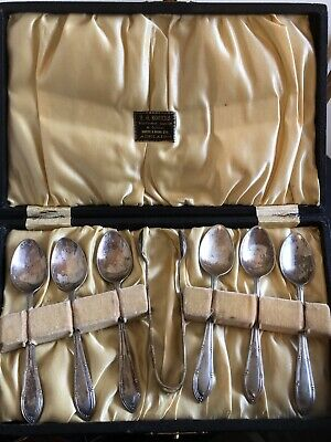 Vintage Set Silver Plated 6 Teaspoons And Cube Tongs In Box H G Rogers