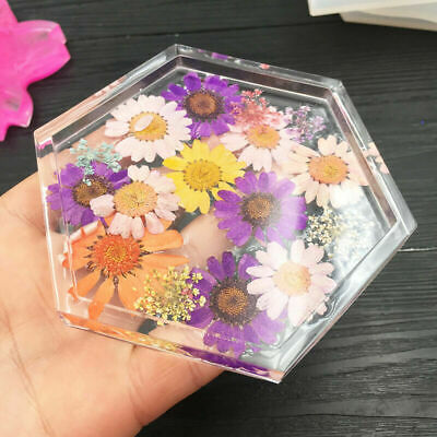 Hexagon Coaster Resin Casting Mold Silicone Making Dried Flower Mould Craft DIY