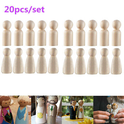 20pcs 65mm Natural Wooden Painting DIY Toy for People Peg Dolls Creative Gift