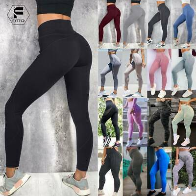 Womens High Waist Yoga Pants Push Up Seamless Leggings Sports Fitness Trousers A