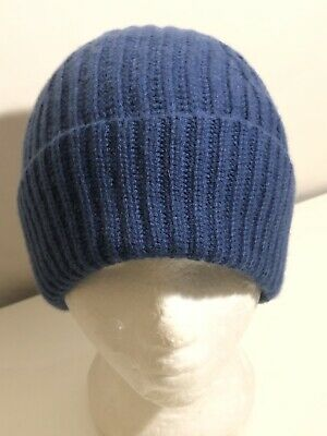 **OS Nordstrom Men's Shop Cashmere Chunky Ribbed Knit Beanie Cap Royal Blue