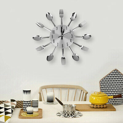 Modern Cutlery Fork Tableware Wall Pointer Analog Clock Home Decoration