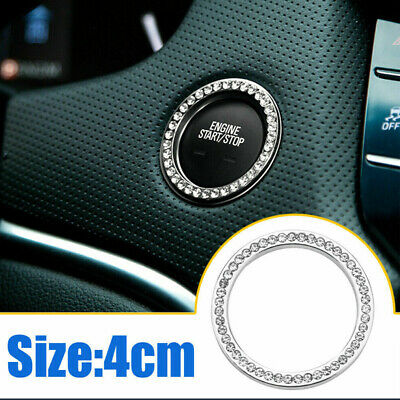 Auto Car SUV Decorative Silver Accessories Button Start Switch Diamond Ring