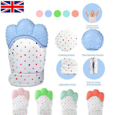 UK Soft Baby Silicone Mitts Teething Mitten Teething Glove Candy Wrapper Teether