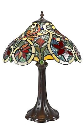 """12"""" Traditional Dragonfly Style Stained Glass Tiffany Bedside Table Lamp"""