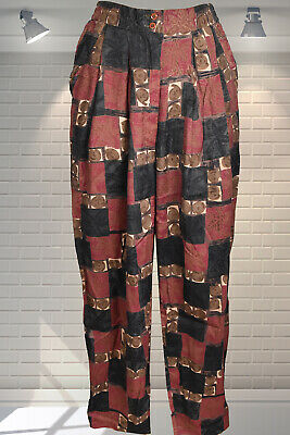 Vintage High Waisted Abstract Print 1980s Baggy Loose Fitting Hippy Trousers 26W
