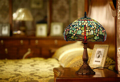"""12"""" Blue Dragonfly Style Stained Glass Tiffany Bedside Table Lamp"""
