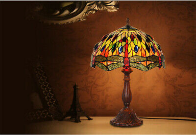 """12"""" Green Orange Dragonfly Style Stained Glass Tiffany Bedside Table Lamp"""
