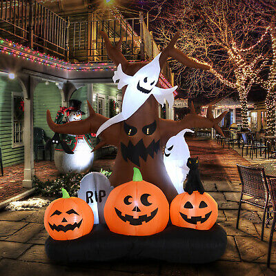 HOMCOM 8ft  LED Outdoor Halloween Inflatable Decoration-  Spooky Dead Tree