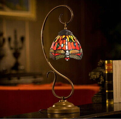 Red Dragonfly Style Stained Glass Tiffany Accent Table Lamp
