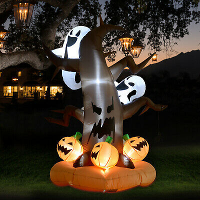 HOMCOM 8' LED Inflatable Outdoor Halloween Yard Decoration - Haunted Ghost Tree