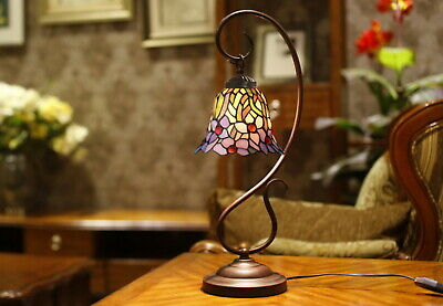 Flower Rose Style Stained Glass Tiffany Accent Table Lamp