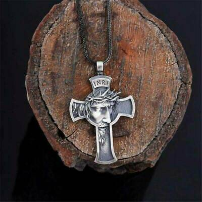Unisex's Vintage Cross Pendant Necklace Stainless Steel Crucifix Jewelry Gift