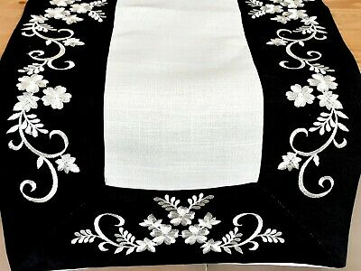 Rectangle Linen/Look 40*90cm Black or White Swirl Premium Polyester TableTunner