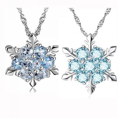 Frozen Flower Blue Crystal Charm Necklace Snowflake Pendant Silver Plated