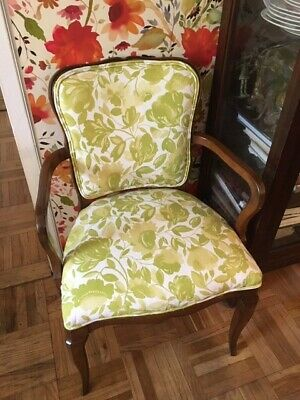 Kim Parker linen floral fabric-  French style chair- newly upholstered!