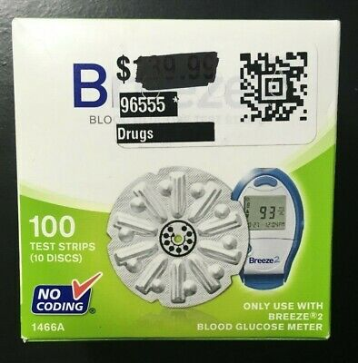 Breeze 2 Blood Glucose Test Strips 100 Count 10 Discs Bayer Exp 02/18+