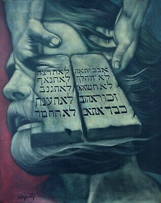 Contemporary Original Oil Canvas Painting Moses & Ten Commandments by Bernstein