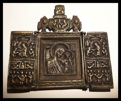 ANTIQUE RUSSIAN TRIPTYCH FOLDING  ICON BRONZE  BRASS  19th CENTURY