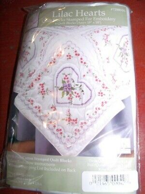 """Tobin 6 Stamped Quilt Blocks LILAC HEARTS 18"""" Squares"""