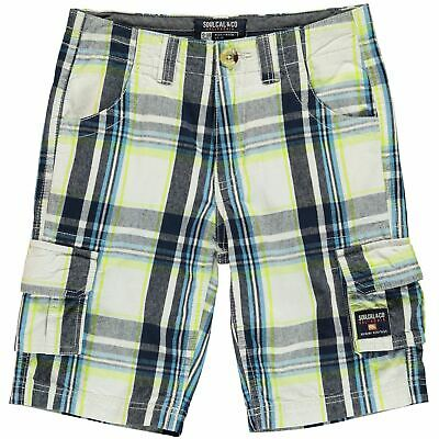 SoulCal Checked Cargo Shorts Youngster Boys Pants Trousers Bottoms Cotton Zip