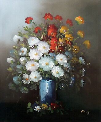 Flowers Still Life Arrangement White Red Orange Classic Oil Painting STRETCHED