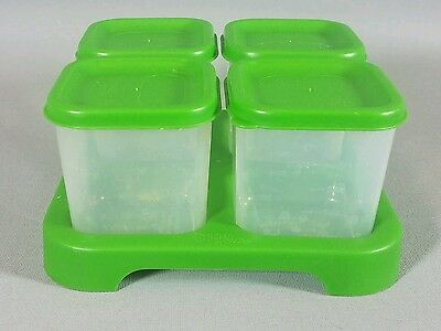 Green Sprouts Infant Food Storage Containers Set of 4 Unbreakable Clear Green