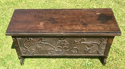 Small Antique Carved Oak Six Plank Blanket Box Coffer Sword Chest