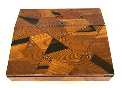 Antique Victorian Parquetry Writing Box Writing Slope Black Lacquered Interior