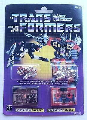 Transformers Decepticon Cassettes G1 Walmart Reissue Ravage and Rumble Pack New