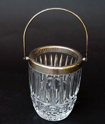Silver Lead Crystal Jar Holder With Silver Plate Handle