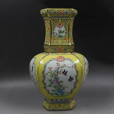 Chinese ancient antique hand make Enamel Flowers and Birds vase s585