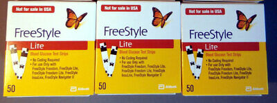 3 x 50 (150) Freestyle Lite Blood Glucose Test Strips Sealed Box Long Expiry