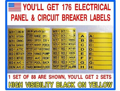 176 Circuit Breaker Electrical Panel Box Labels  - You Get 2 Sets Of 88 Labels!