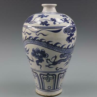 Chinese ancient antique hand make Blue and white dragon pattern vase s605
