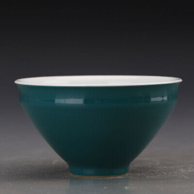 Chinese ancient antique hand make Green glazed tea bowl s608